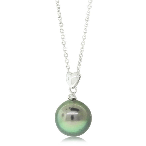 18ct White Gold 10mm Cultured Black Pearl Pendant - Walker & Hall