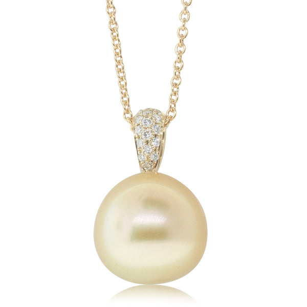 18ct Yellow Gold 11.9mm South Sea Pearl & Diamond Pendant