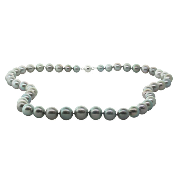9ct White Gold 7.5-12.5mm Cultured Black Pearl Necklace