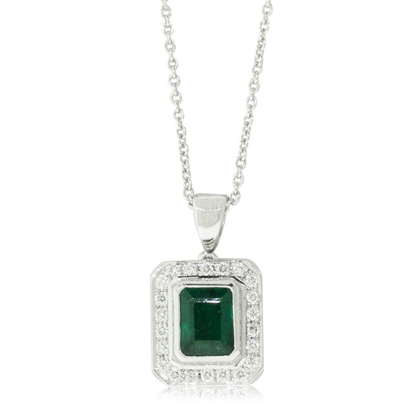 18ct White Gold 1.00ct Emerald & Diamond Halo Pendant
