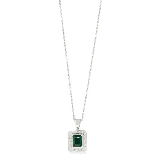 18ct White Gold 1.00ct Emerald & Diamond Halo Pendant - Walker & Hall