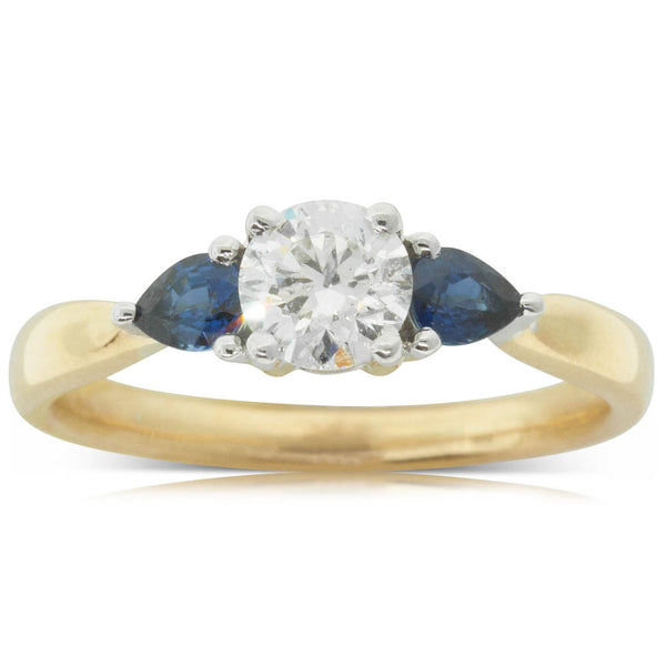 18ct Yellow & White Gold Sapphire & Diamond Ring