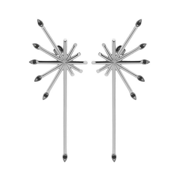 Meadowlark Petal Burst Earrings - Sterling Silver & Black Diamond - Walker & Hall