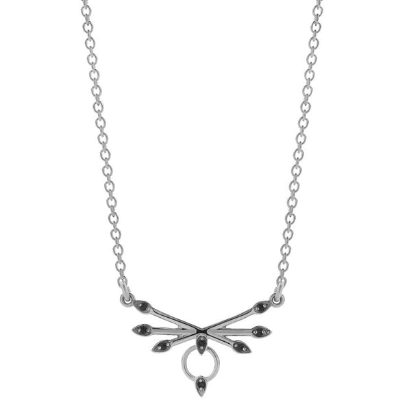 Meadowlark Petal Necklace - Sterling Silver & Black Diamond - Walker & Hall