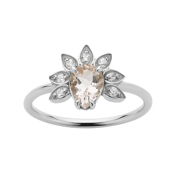Meadowlark Morganite & Diamond Petal Ring - Sterling Silver