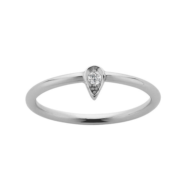 Meadowlark Petal Stacker Ring - Sterling Silver & White Diamond