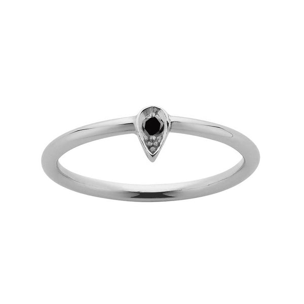 Meadowlark Petal Stacker Ring - Sterling Silver & Black Diamond - Walker & Hall