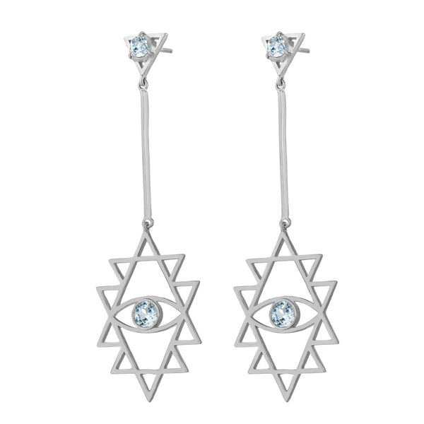 Zoe & Morgan Shakti Eye Earrings - Sterling Silver & Blue Topaz - Walker & Hall