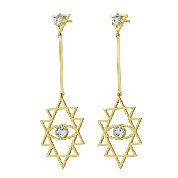 Zoe & Morgan Shakti Eye Earrings - 22ct Gold Plated & Blue Topaz - Walker & Hall