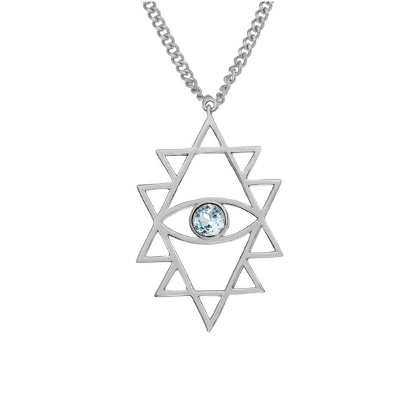 Zoe & Morgan Shakti Eye Necklace - Sterling Silver & Blue Topaz - Walker & Hall