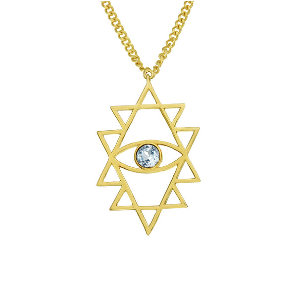 Zoe & Morgan Shakti Eye Necklace - 22ct Yellow Gold Plated & Blue Topaz - Walker & Hall