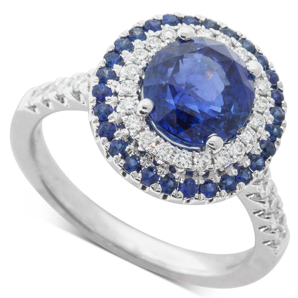 18ct White Gold 3.01ct Sapphire & Diamond Halo Ring - Walker & Hall
