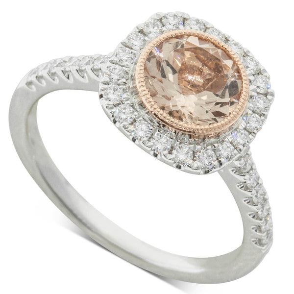 18ct White & Rose Gold 1.00ct Morganite & Diamond Halo Ring