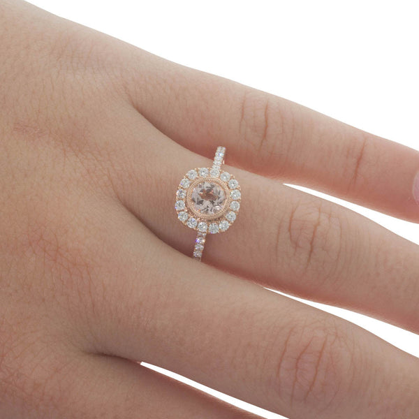 18ct Rose Gold Morganite & Diamond Halo Ring - Walker & Hall