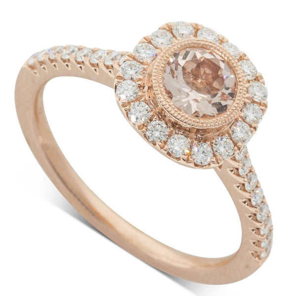 18ct Rose Gold .53ct Morganite & Diamond Halo Ring - Walker & Hall