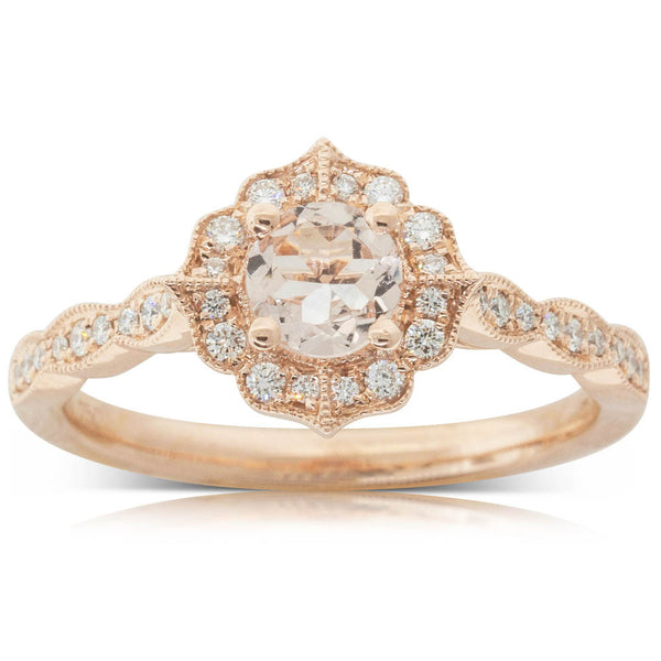 18ct Rose Gold .45ct Morganite & Diamond Paramount Ring