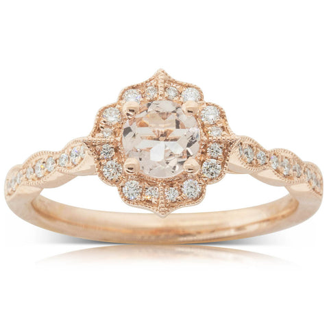 18ct Rose Gold .45ct Morganite & Diamond Paramount Ring - Walker & Hall
