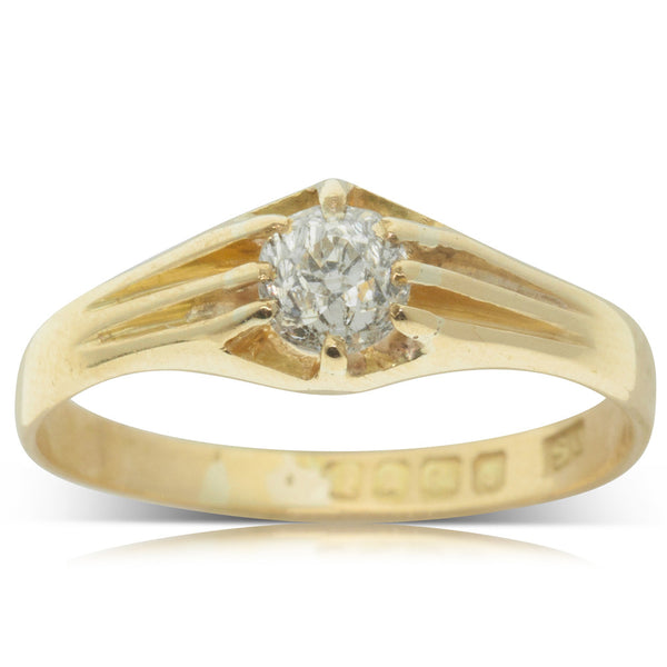 Vintage 18ct Yellow Gold .50ct Diamond Ring - Walker & Hall
