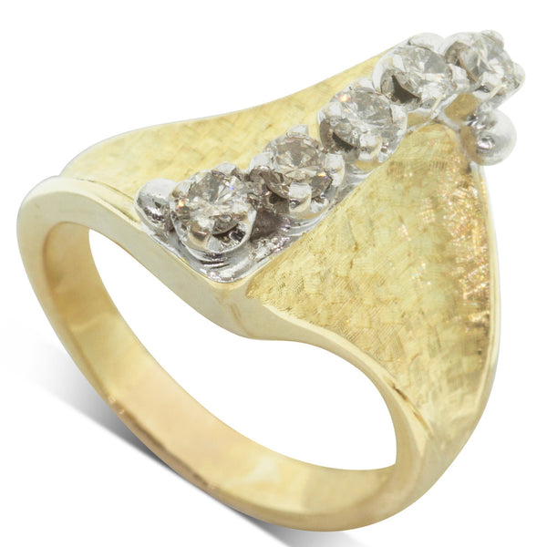 Vintage 18ct Yellow Gold .37ct Diamond Ring - Walker & Hall