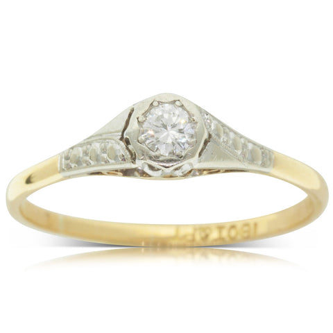 Vintage 18ct Yellow Gold & Platinum .14ct Diamond Solitaire Ring - Walker & Hall