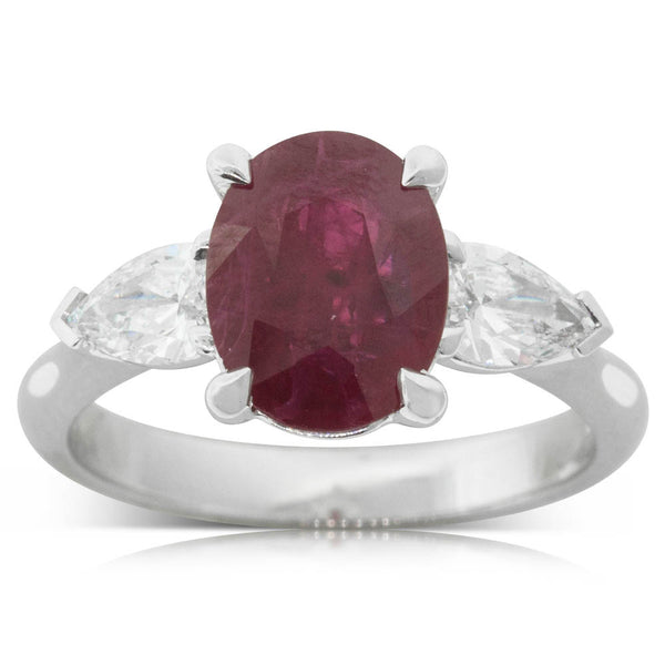 18ct White Gold 2.12ct Ruby & Diamond Ring