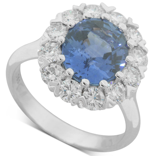 18ct White Gold 4.30ct Sapphire & Diamond Halo Ring