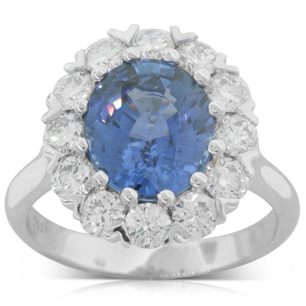 18ct White Gold 4.30ct Sapphire & Diamond Halo Ring - Walker & Hall