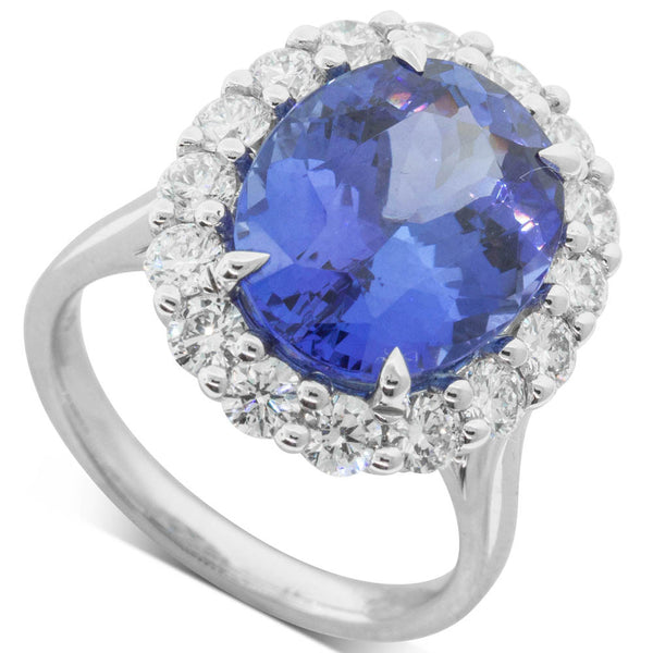 18ct White Gold 7.55ct Tanzanite & Diamond Halo Ring