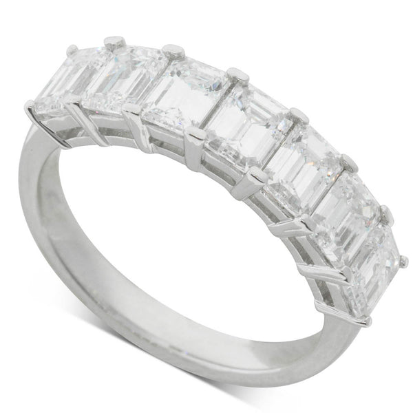 18ct White Gold 2.45ct Diamond Emerald Cut Eternity Ring