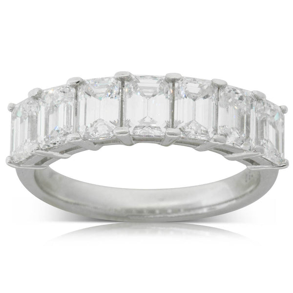18ct White Gold 2.45ct Diamond Emerald Cut Eternity Ring - Walker & Hall
