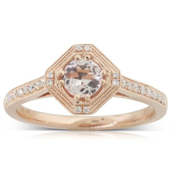 18ct Rose Gold .36ct Morganite & Diamond Halo Ring