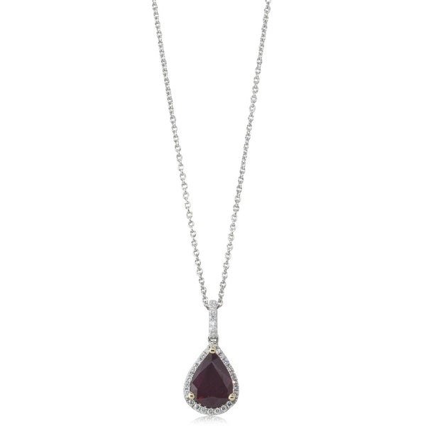 18ct White & Yellow Gold 2.05ct Ruby & Diamond Halo Pendant
