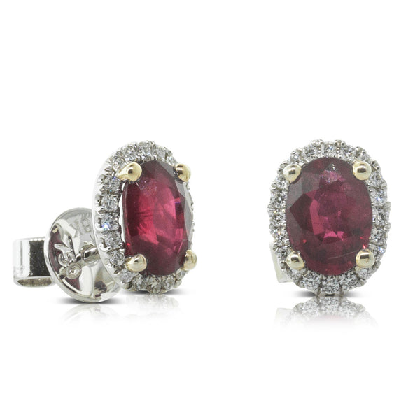 18ct White & Yellow Gold 2.12ct Ruby & Diamond Halo Stud Earrings