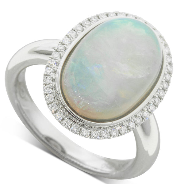 18ct White Gold 4.25ct Opal & Diamond Halo Ring