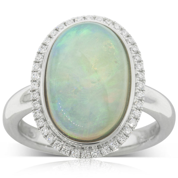 18ct White Gold 4.25ct Opal & Diamond Halo Ring - Walker & Hall