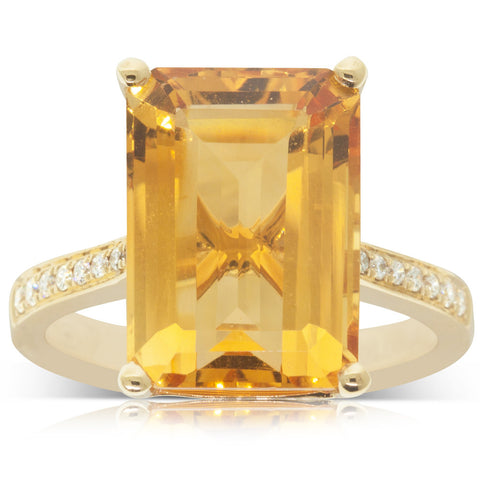 18ct Yellow Gold 7.23ct Citrine & Diamond Ring - Walker & Hall