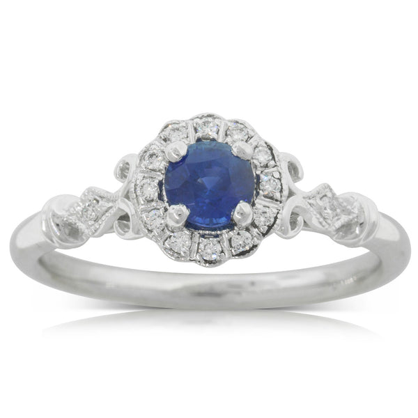 18ct White Gold .49ct Sapphire & Diamond Versaille Ring - Walker & Hall