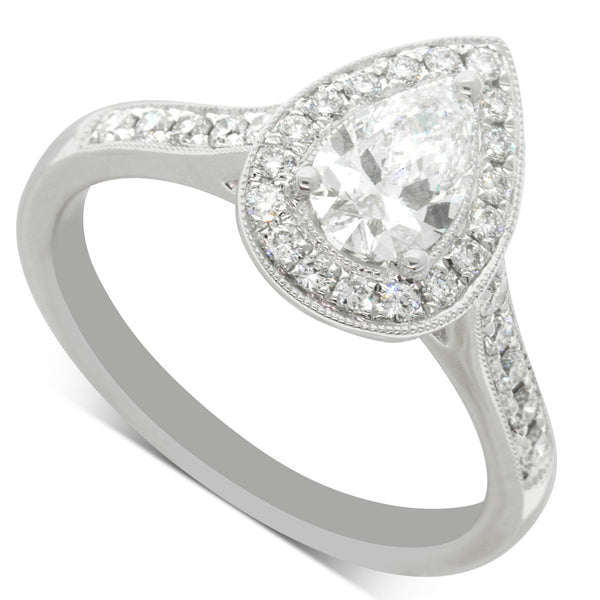 18ct White Gold .59ct Pear Cut Diamond Halo Ring
