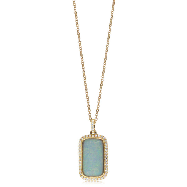 18ct Yellow gold Opal & Diamond Pendant - Walker & Hall
