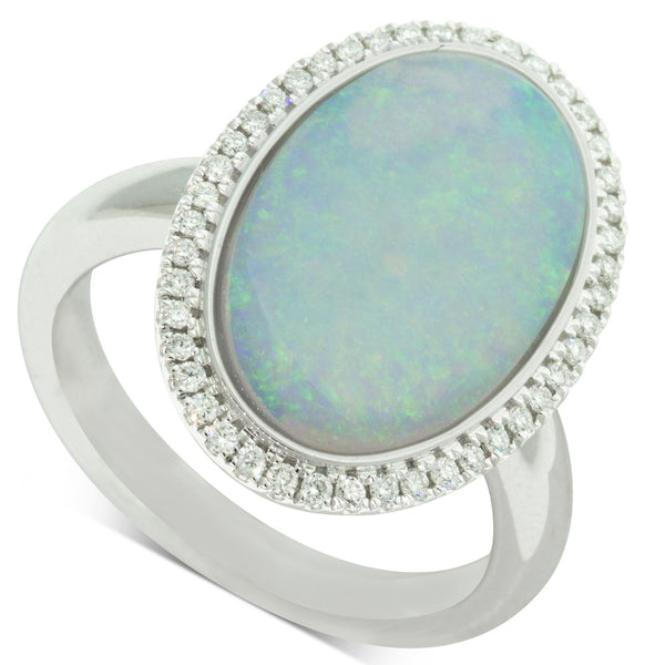 18ct White Gold 4.14ct Opal & Diamond Halo Ring