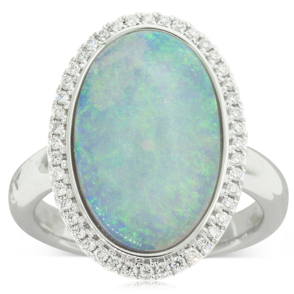 18ct White Gold 4.14ct Opal & Diamond Halo Ring - Walker & Hall