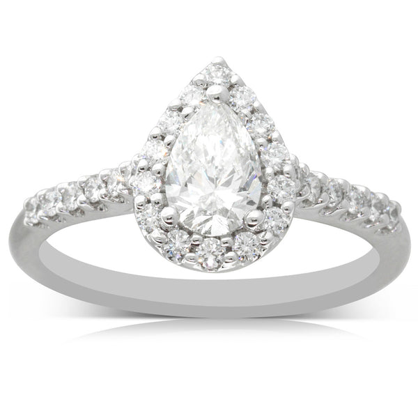 18ct White Gold .60ct Pear Cut Diamond Halo Ring - Walker & Hall