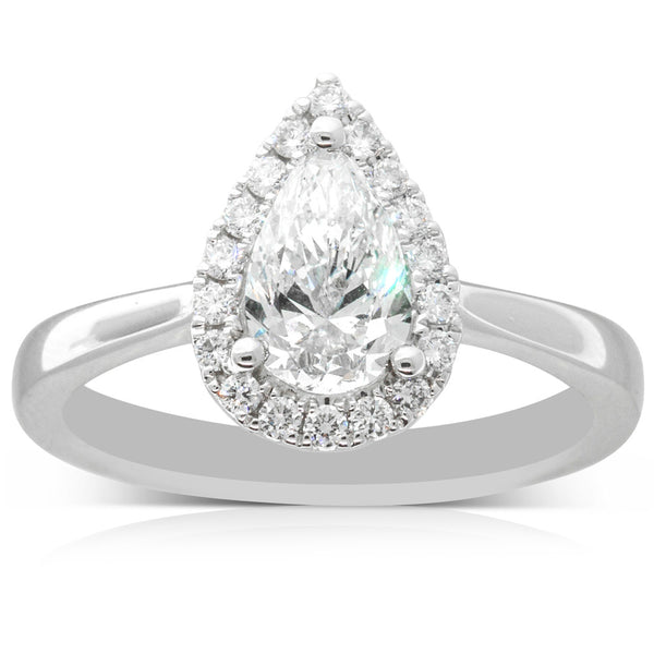 18ct White Gold .90ct Pear Cut Halo Ring - Walker & Hall