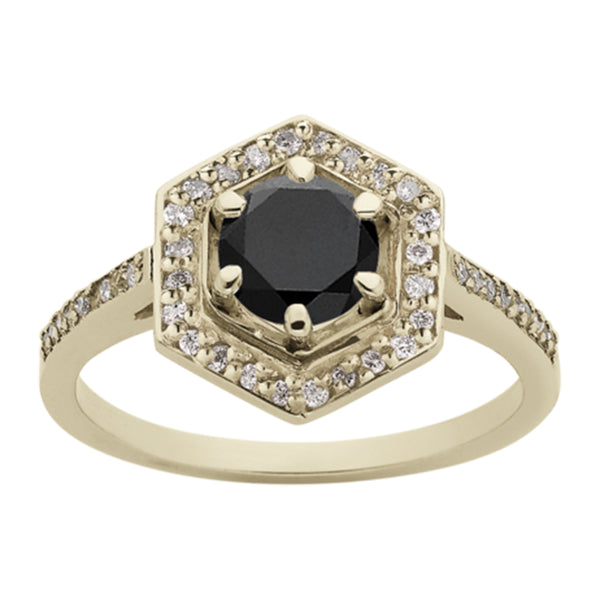 Meadowlark Hexagon Engagement Ring - 9ct Yellow Gold - Walker & Hall