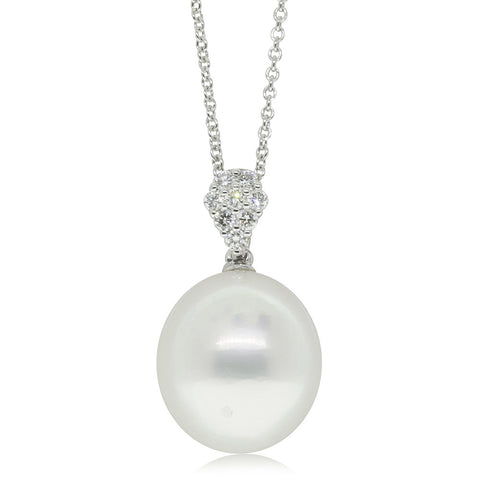 18ct White Gold 13.2mm Cultured South Sea Pearl & Diamond Pendant - Walker & Hall