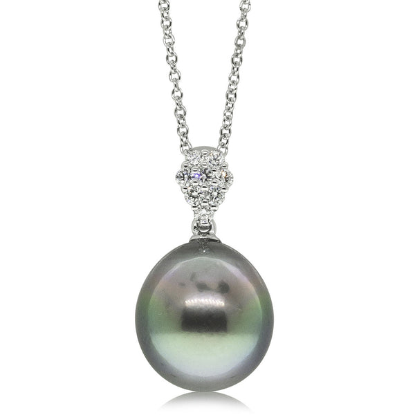18ct White Gold 12.6mm Cultured Black Pearl & Diamond Pendant - Walker & Hall