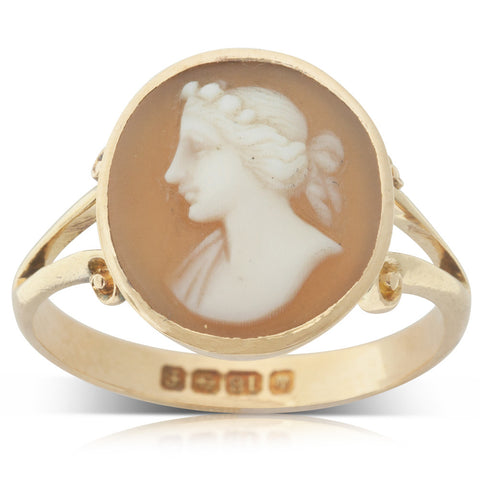 Vintage 18ct Yellow Gold Cameo Ring - Walker & Hall