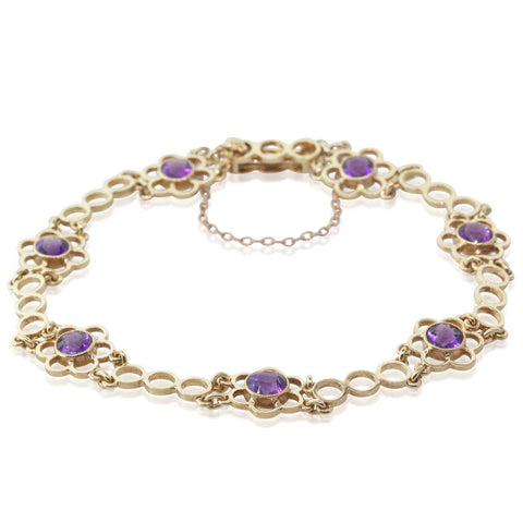 Vintage 15ct Yellow Gold 1.75ct Amethyst Bracelet - Walker & Hall