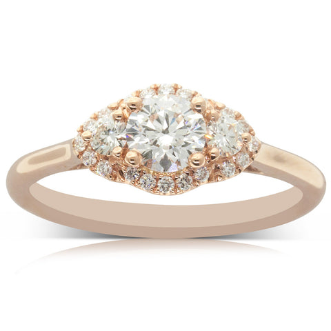 18ct Rose Gold .46ct Diamond Posie Ring - Walker & Hall