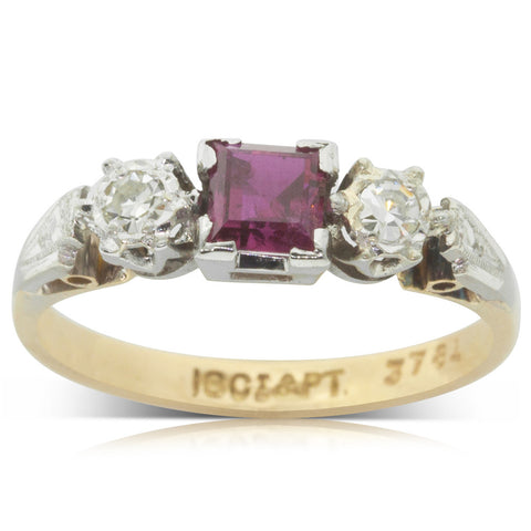 Vintage 18ct Yellow Gold & Platinum Ruby & Diamond Ring - Walker & Hall